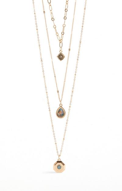Multi Row Stone Pendant Necklace