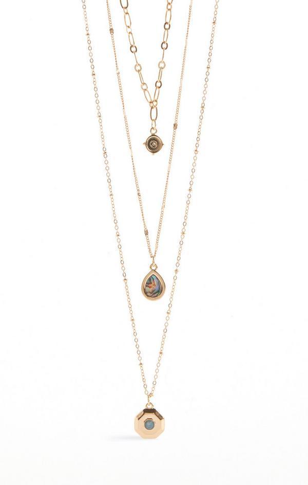 Multi Row Stone Pendant Necklace