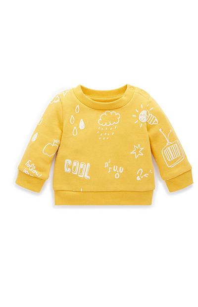 Set van gele babysweater en -joggingbroek met droedels voor jongens