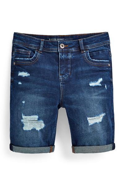 Older Boy Blue Distressed Skinny Denim Shorts