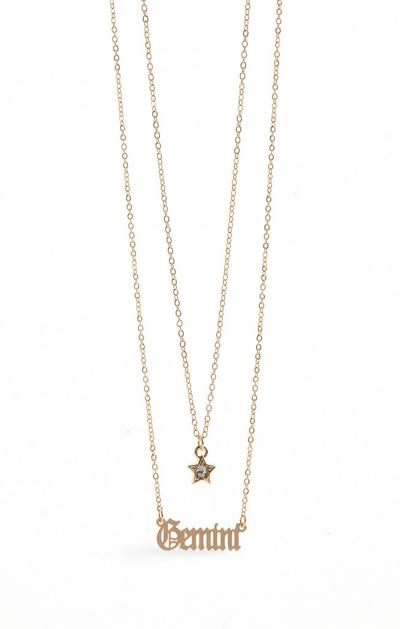Two Row Gemini Sign Chain Necklace