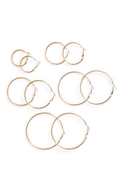 Pack de 5 pares de pendientes de aro tubulares dorados