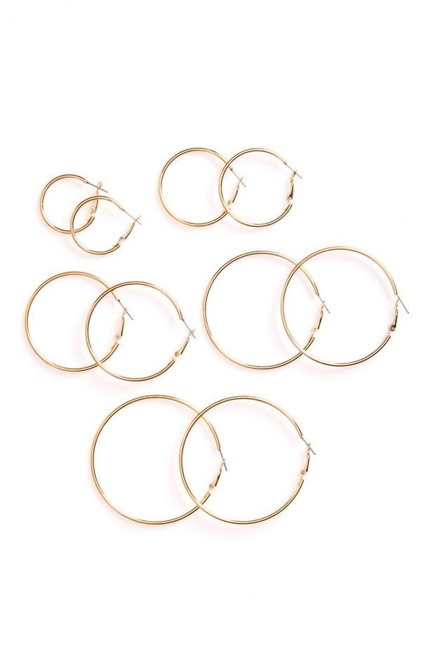 5 paia di orecchini a cerchio tubolari e dorati