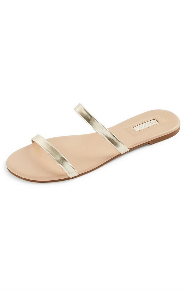 Bronze Strappy Sandal Mules