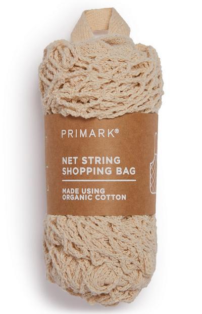 Borsa della spesa a rete panna in cotone biologico