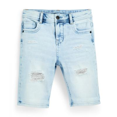 Older Boy Blue Faded Ripped Denim Shorts