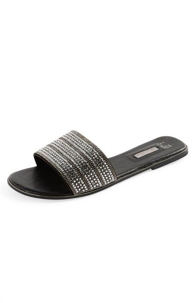 Black Rhinestone Wide Strap Slides