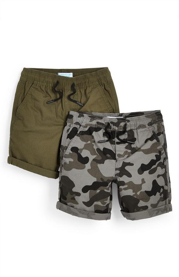 Canvas shorts voor jongens, kaki en met camouflageprint, set van 2