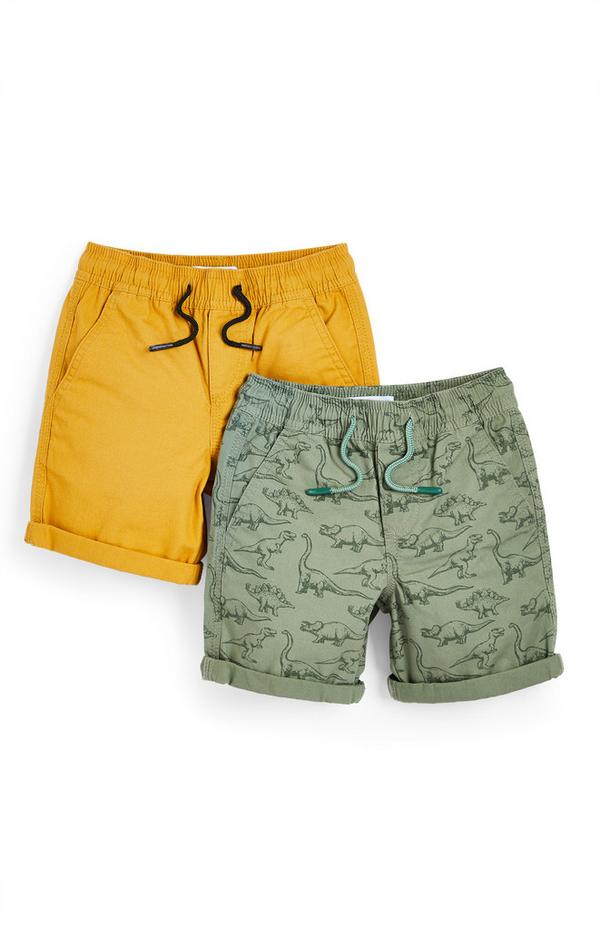 Younger Boy Yellow And Green Canvas Shorts 2 Pack