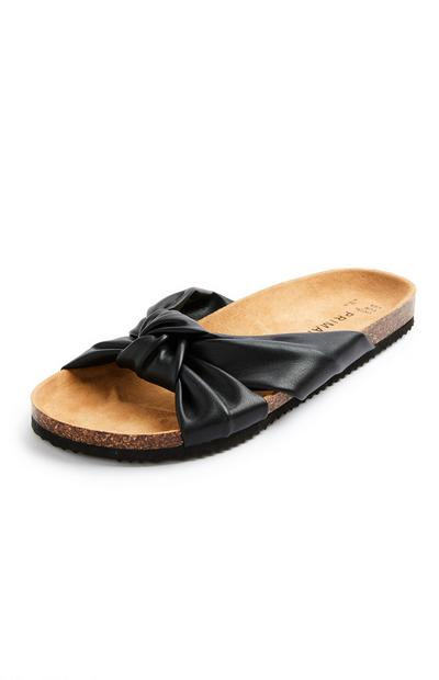 Black Knot Strap Footbed Sandals