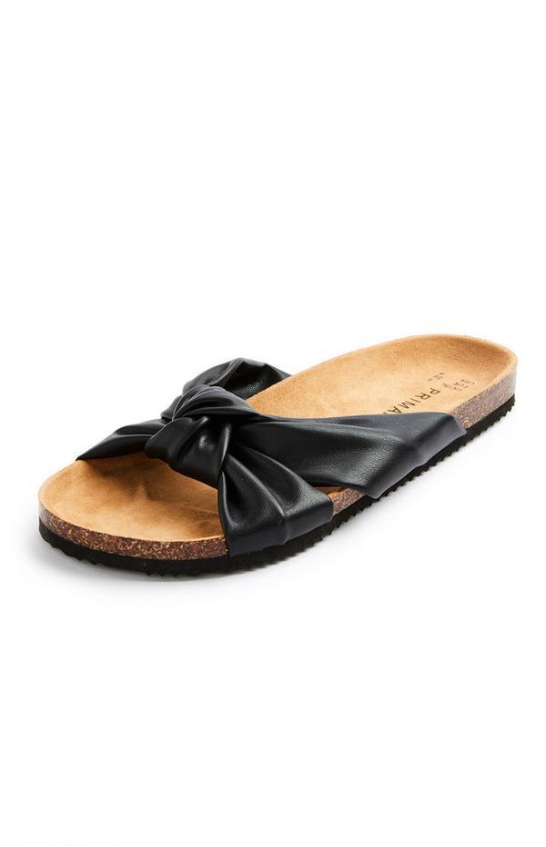 Black Knot Strap Footbed Sandals