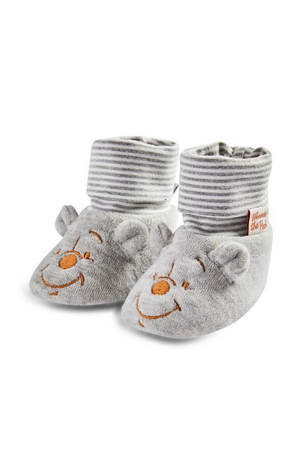 Baby Winnie The Pooh Grey Socktop Slippers