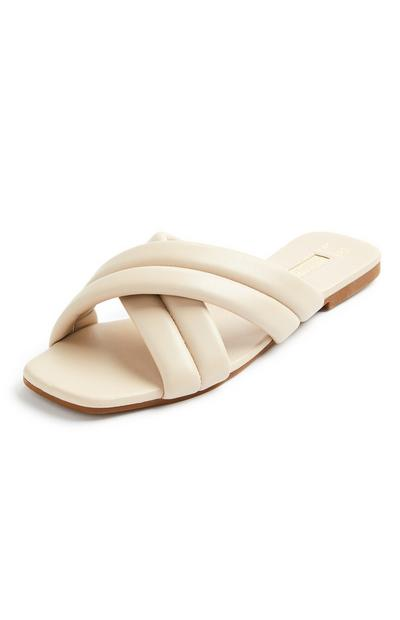Cream Padded Cross Strap Slides