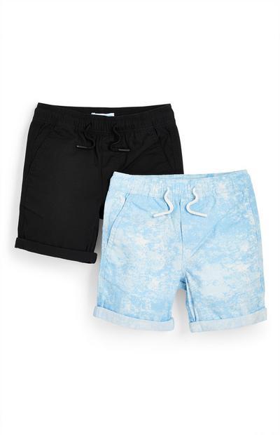 Canvas shorts voor jongens, zwart en blauw met tie-dye, set van 2