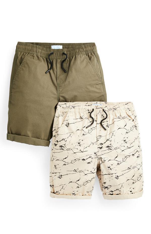 Canvas shorts voor jongens, kaki en crèmekleurig, set van 2