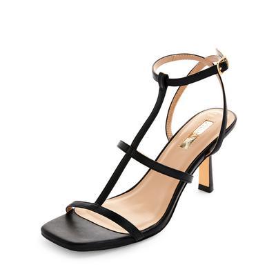 Black T-Bar Strappy Sandals