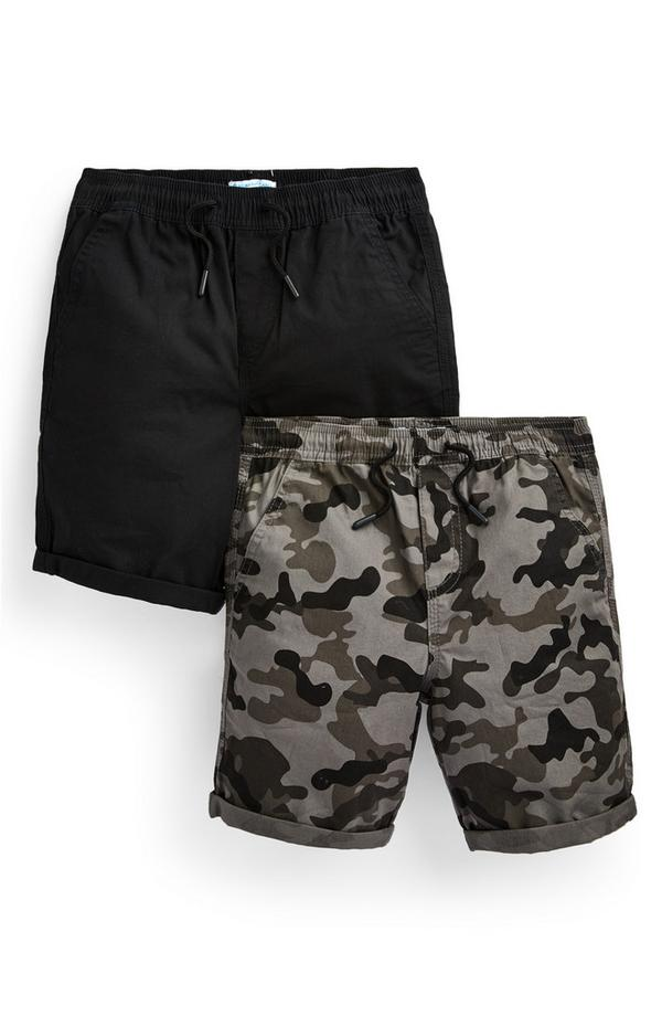 Canvas shorts voor jongens, zwart en met camouflageprint, set van 2