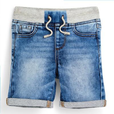 Shorts blu pull-on in denim da bambino