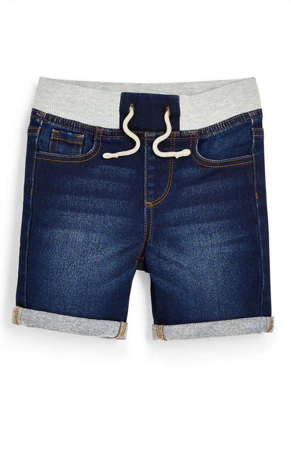 Younger Boy Dark Blue Denim Pull On Shorts