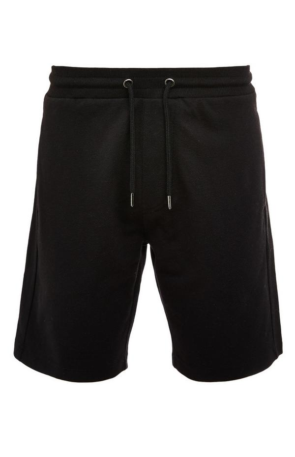 Black Pique Tie Waist Shorts