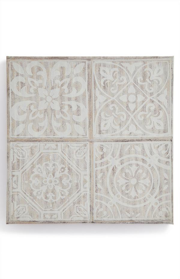 Wanddecoratie ivoorwitte tegelpatronen op canvas 30 cm x 30 cm