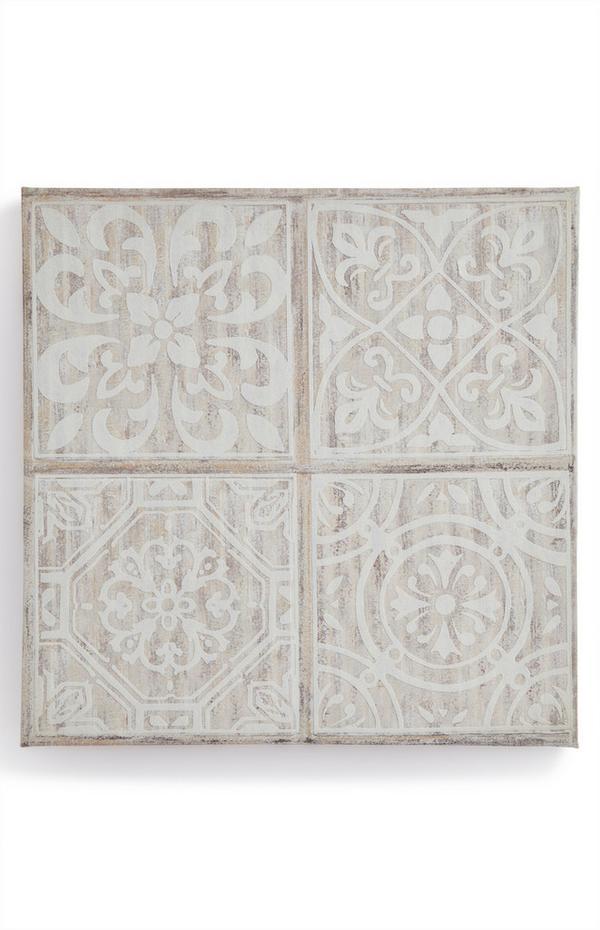 Platnen stenski okras na deski z vzorcem ploščic slonokoščene barve