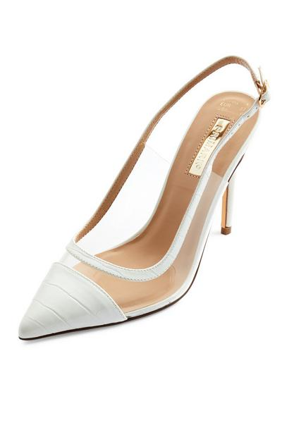 White Perspex Pointed Toe Cap Court Shoes