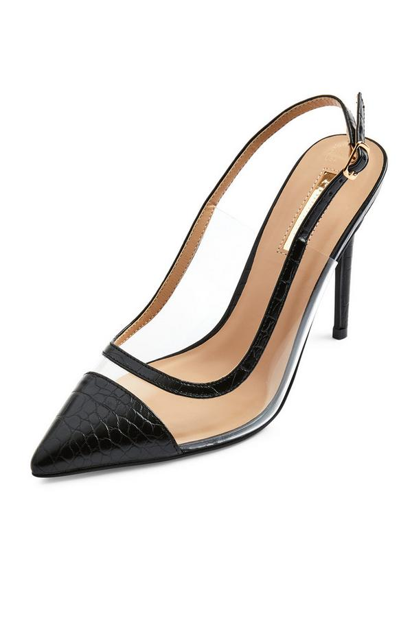 Black Clear Pointed Cap Toe Court Heels