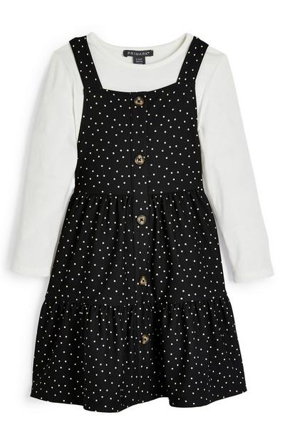 Younger Girl Black And White 2-In-1 Polka Dot Pinafore Dress