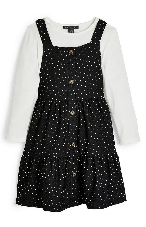 Younger Girl Black And White 2-In-1 Polka Dot Jumper Dress