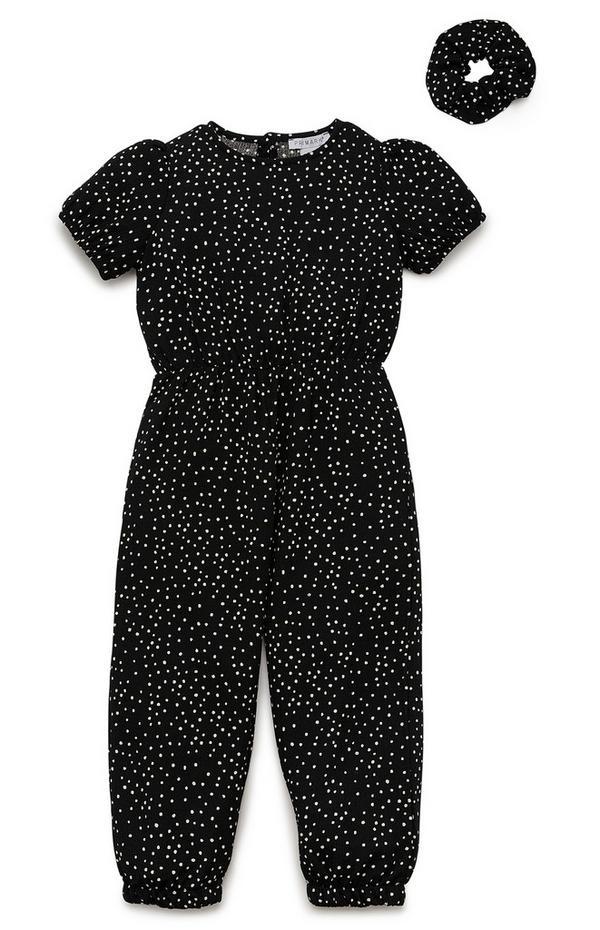 Črn dekliški kombinezon z manšetami in elastiko za lase za mlajša dekleta