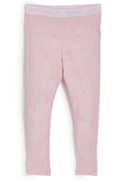 Legging rose à motif lapins fille