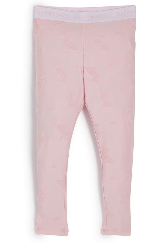 Legging rose à motif lapins fille