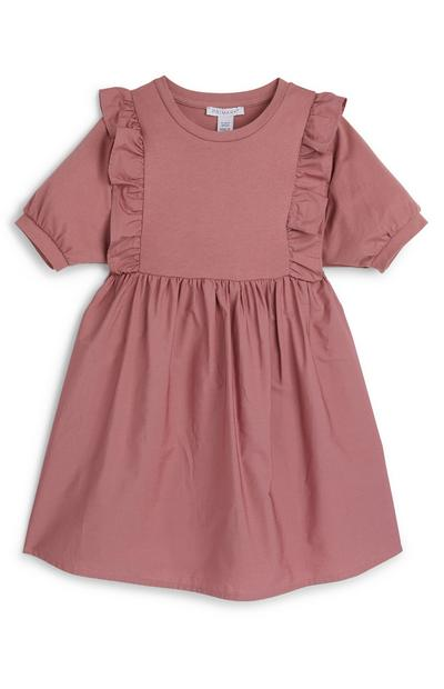 Younger Girl Blush Pink Puff Sleeve Poplin Dress