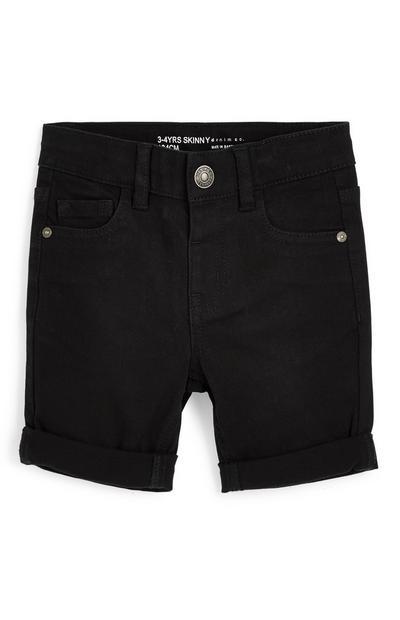 Zwarte skinny short van twill-katoen voor jongens