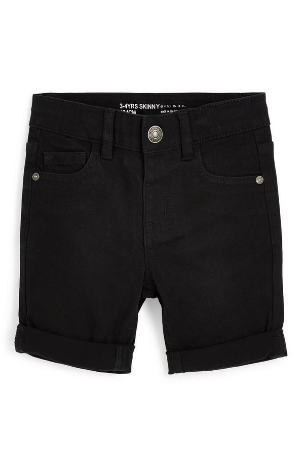 Pantalón corto pitillo de sarga negro para niño pequeño