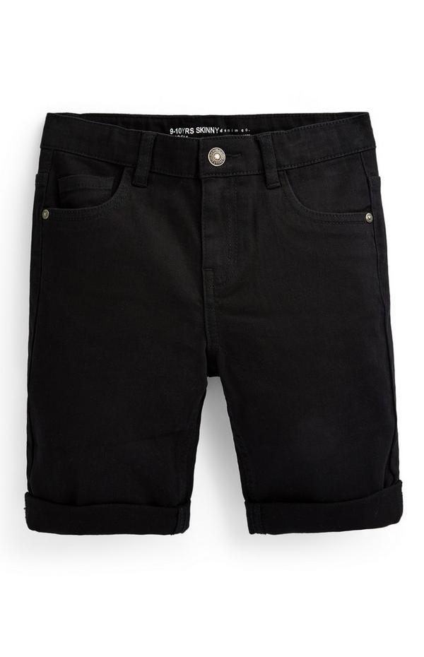Zwarte skinny short van twill voor jongens