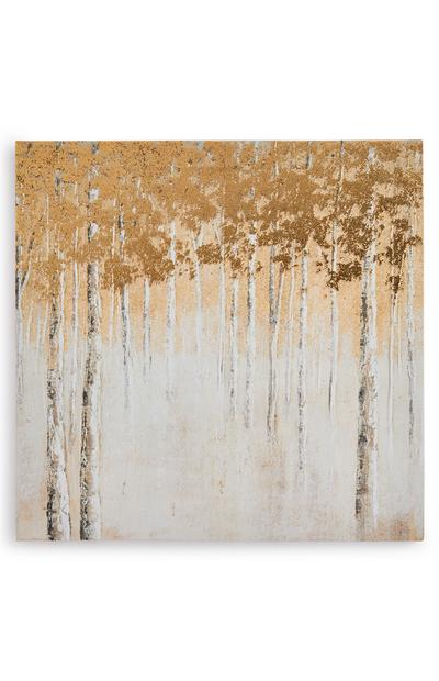 Ivory And Gold Abstract Forest Canvas Board Wall Art