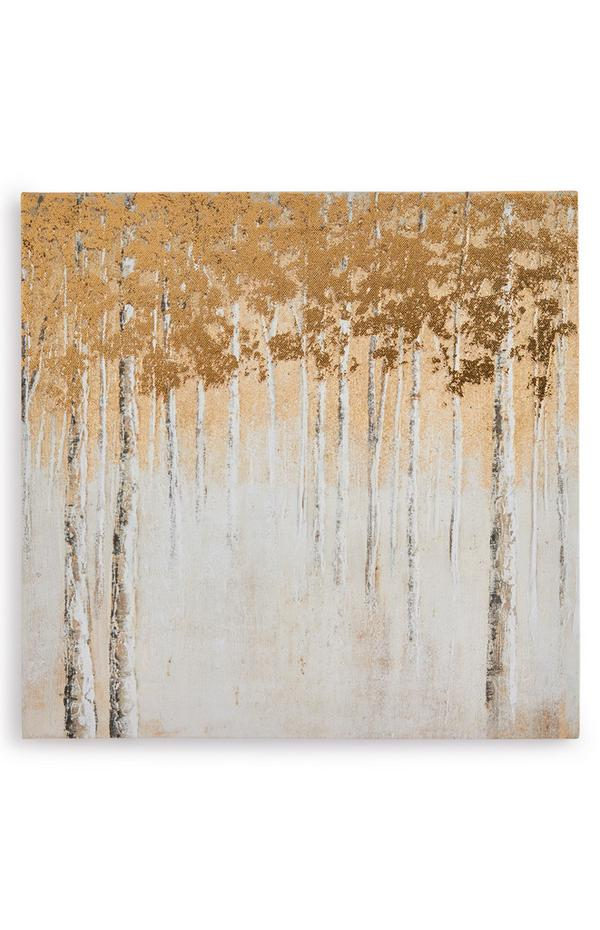 Ivory And Gold Abstract Forest Canvas Board Wall Art 30cm x 30cm