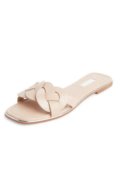 Cream Metal Trimmed Weave Strap Mules