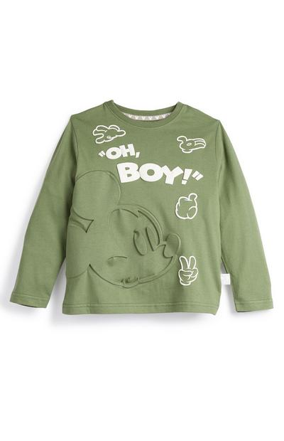Primark Cares Featuring Disney Younger Boy Green Mickey Mouse Long Sleeve Top