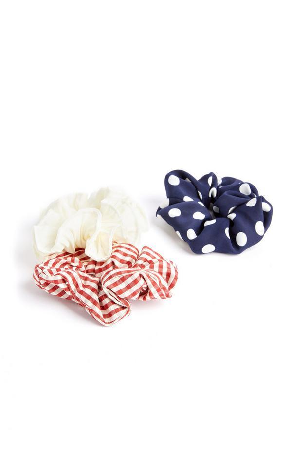 3-Pack Multi Striped Scrunchies