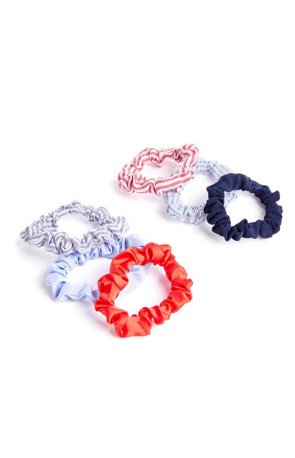 6-Pack Red And Blue Denim Micro Scrunchies