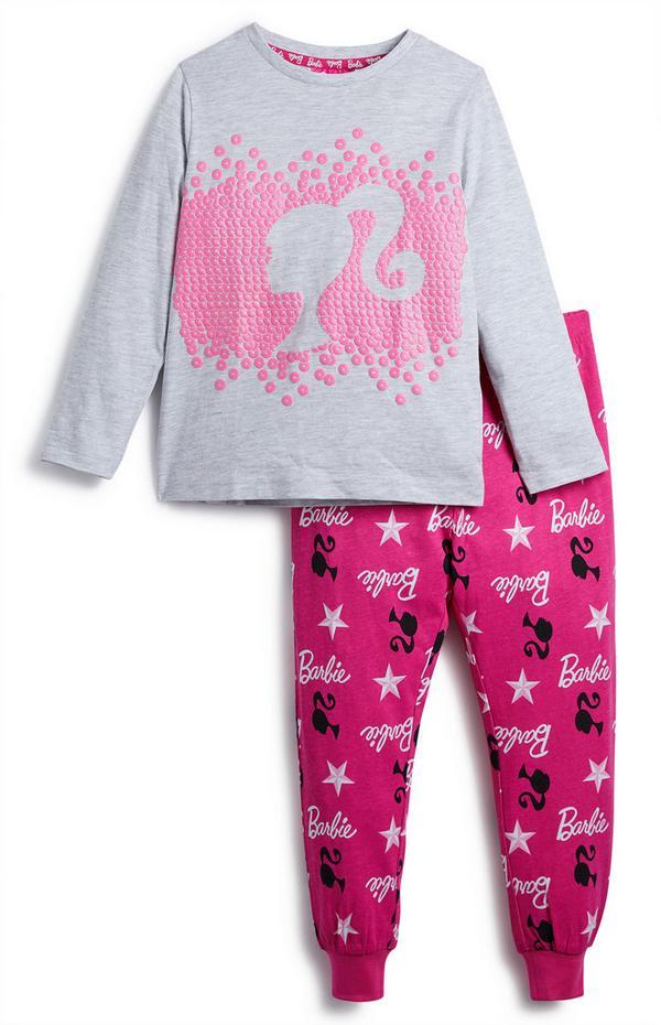 Rožnato-siv komplet pižame Barbie za mlajša dekleta