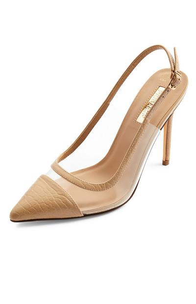 Beige Clear Perspex Pointed Toe Cap Court Shoes
