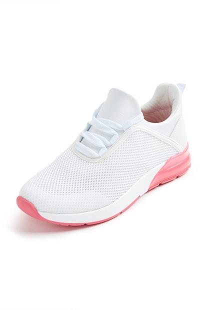 Witte gebreide sneakers met hakdetail