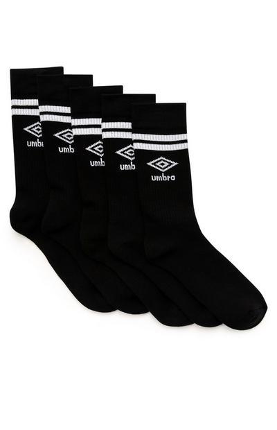 Pack 5 pares meias desporto Umbro preto