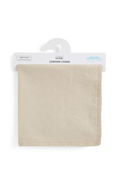 Cream Linen Trimmed Cushion Cover