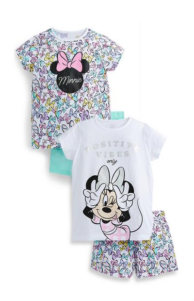 Older Girl Multicoloured Print Disney Minnie Mouse Short Pyjamas Sets 2 Pack