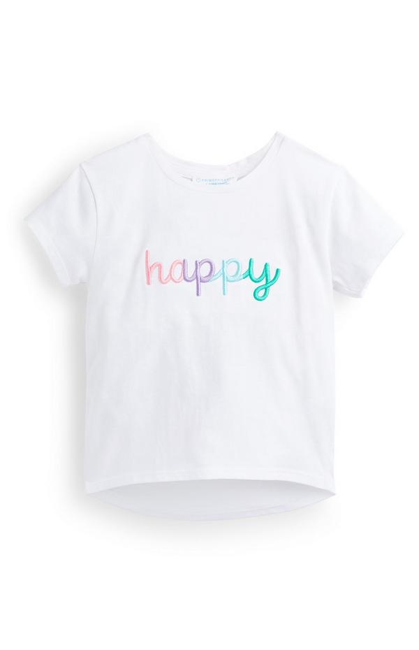 Younger Girl White Happy Embroidery T-Shirt